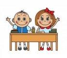 chlapec a děvče v lavici